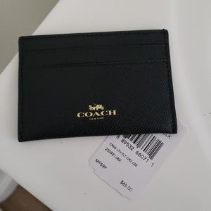 Coach crossgrain leather flat card case blk